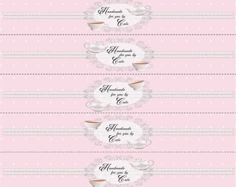Lacy Pink Teacups Labels/Wraps - PDF FILE ONLY