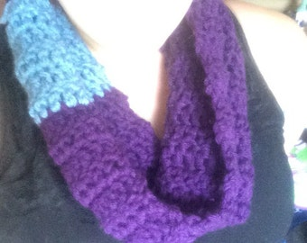 Royal purple cowel with periwinkle accent- hand crocheted