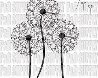 Dandelion Flower SVG, DXF - Digital Cut file for Cricut or Silhouette svg, dxf