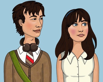 Tom and Summer 500 Days of Summer Illustration Matte Coated Illustrated Print