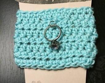 Blue Metallic Bride Crochet Coffee Cozy