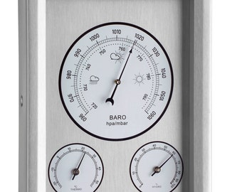 Modern Stainless Steel Outdoor Garden Weather Station - including a Thermometer, Barometer & Hygrometer