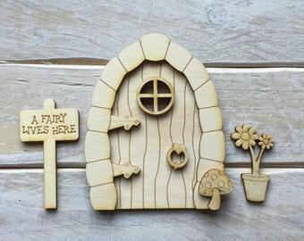 Wooden Fairy Door Blank Birch Pywood Pixie Hobbit Elf door Kit ready to decorate KIT CSSF