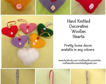 Hand Knitted Decorative Woollen Hearts