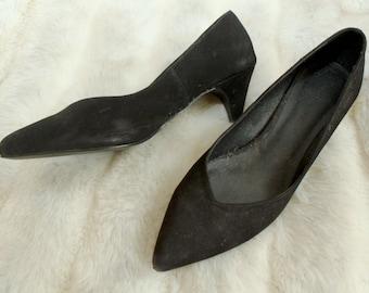 Black Suede Kitten Heels 7.5