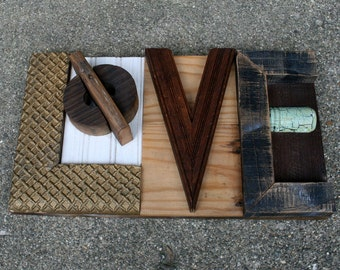 Assemblage Art Love Sign Reclaimed Wood Rustic Typography