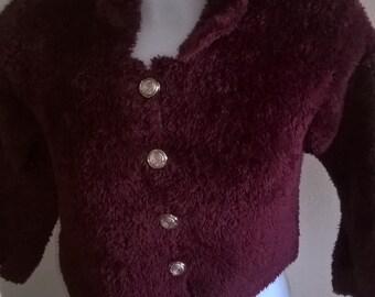 Burgundy waistcoat knitted in wool plush, bobo