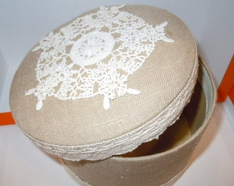 Fabric box with antique doily