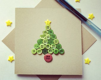 Christmas Tree Card made from upcycled buttons