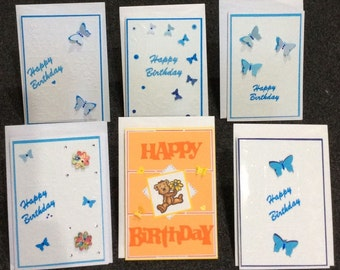 SALE 50% OFF - Set of 3  Birthday Cards with Butterflies - what a great way to say Happy Birthday to that someone special in your life