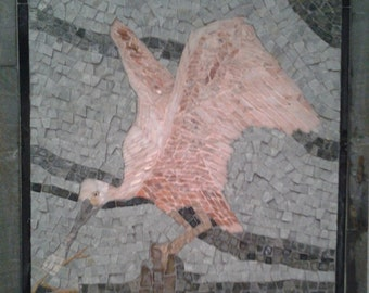 "Hand-crafted marble mosaic wall art--""Roseate Spoonbill"""