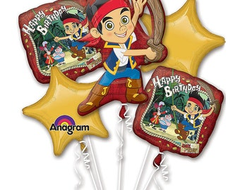 FAST SHIP Jake and the Neverland Pirates Birthday Balloons Bouquet, Jake and the Neverland Party Balloons, Pirates Foil Latex Mylar Balloon