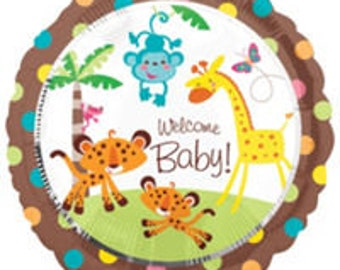FAST SHIP 2 Welcome Baby Monkey Baby Shower Balloons, Safari Monkey Party Balloons, Jungle Foil Balloons, Cute Monkey Party Supplies