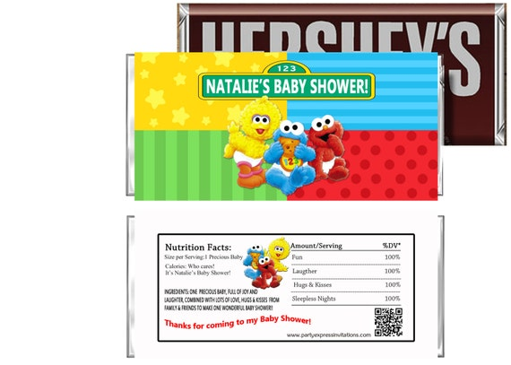 Baby elmo baby shower candy wrappers baby sesame street party - Sesame street baby shower ...
