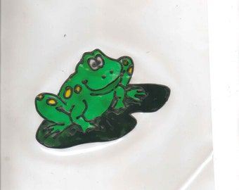 Frog and 2 lily pad stained glass window clings