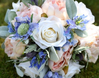 Peach and blue bridal bouquet, wedding bouquet - Roses, peonies & lambs ears - silk / artificial wedding flowers, keepsake bouquet