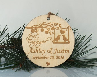 Personalized Christmas just engaged ornament, Just engaged ornament, Wedding ornament, Christmas tree ornament, Mr and Mrs ornament