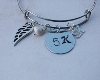 Runner Bangle 5K Hand Stamped, Wing
