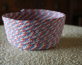 Red, white, and blue round paracord basket/ bowl, flexible, reversible, waterproof