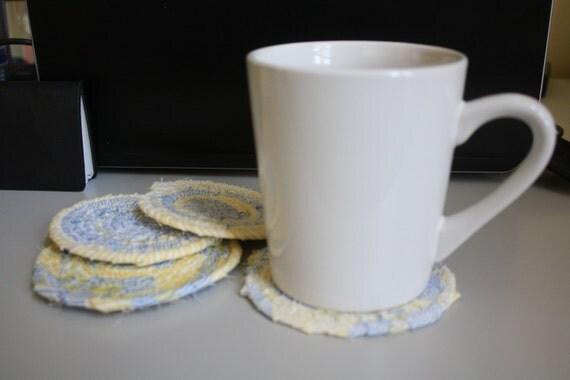 Items similar to Set of 4 coiled fabric coasters - mug ...