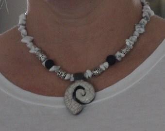 Necklace - White Raku Fired Pendant