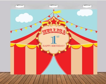 Printable Carousel Carnival Banner Circus Birthday Party Backdrop any age Digital File2