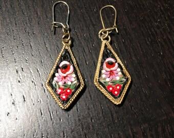 Pierced Micro Mosaic Earrings - Black Floral Design