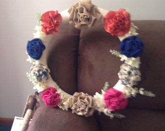Multi color rose wreath
