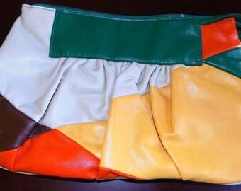 Vintage Leather Clutch Purse Green, Yellow, Orange