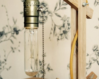 Vintage oak lever light