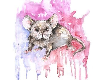 Pink Mouse- print from original watercolour and pencil piece by OneCreativeMother.