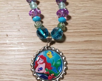 10 Kits - Ariel The Little Mermaid Necklaces DIY Party Favors