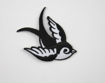 Swallow (Black, Left) Iron On/ Sew On Embroidered Cloth Patch Badge Appliqué hot fix stitch bird UK SELLER Size: 7cm x 6.1cm