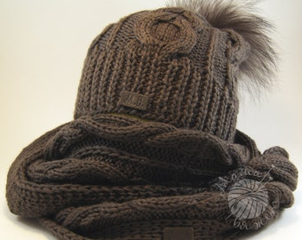 NEW 100% handmade grey knit hat and scarf set