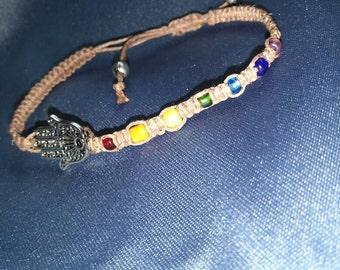 Chakra Hamsa Hemp Bracelet