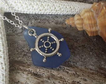 Sapphire sea glass necklace,Boat wheel charm ,925 sterling silver chain, gift box, Hawaii beach  jewelry .