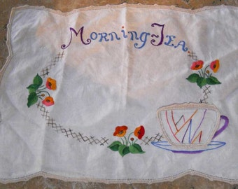 Vintage Linen Embroidered Placemat Afternoon Tea