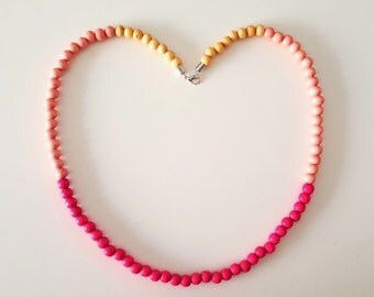 Pink Ombre Wooden Bead Necklace