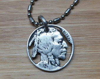 Hobo Nickel, Buffalo Nickel, Hand Cut, Pendant, by Mark Stutsman