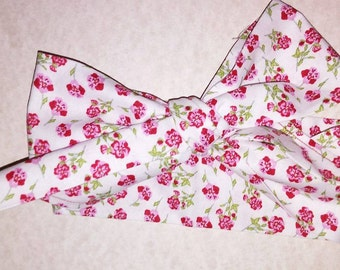 Red Roses Floral White Headwrap