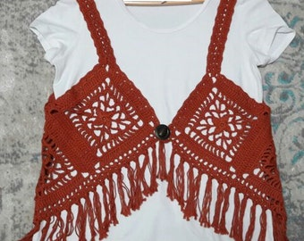 Hippy Style  Crochet Vest with fringig