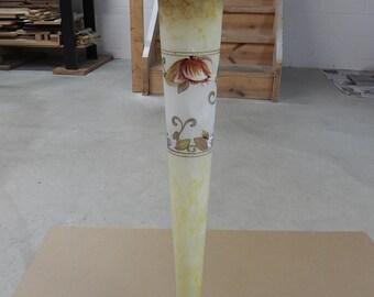 Tall handpainted Italian  glass vase