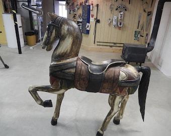 Handcarved & handpainted wooden folk art horse