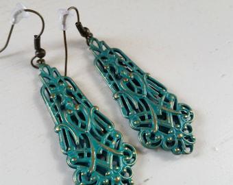 Turquoise Scroll Earrings