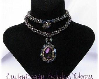 """Handmade Beaded Necklace """"Blue Tear """""""