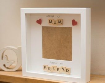 Mum scrabble frame, quirky shabby chic shadow box, great gift/wall art