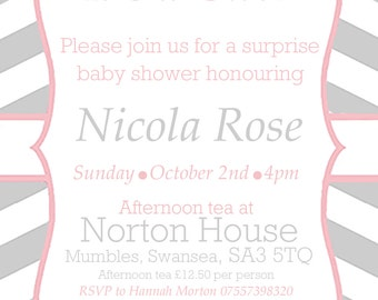 Baby Shower invitation, digital, printable file, chevron personalised custom invite, grey pink