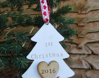 Personalised 1st Christmas wooden tree decoration.