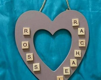 Couple's names scrabble heart keepsake