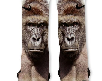 Custom Big Harambe the Gorilla Nike Elites Socks